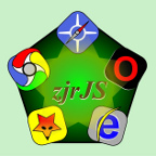 logo: dark-green 5-point star with browser icons on each point, with the name zjrJS in the center
